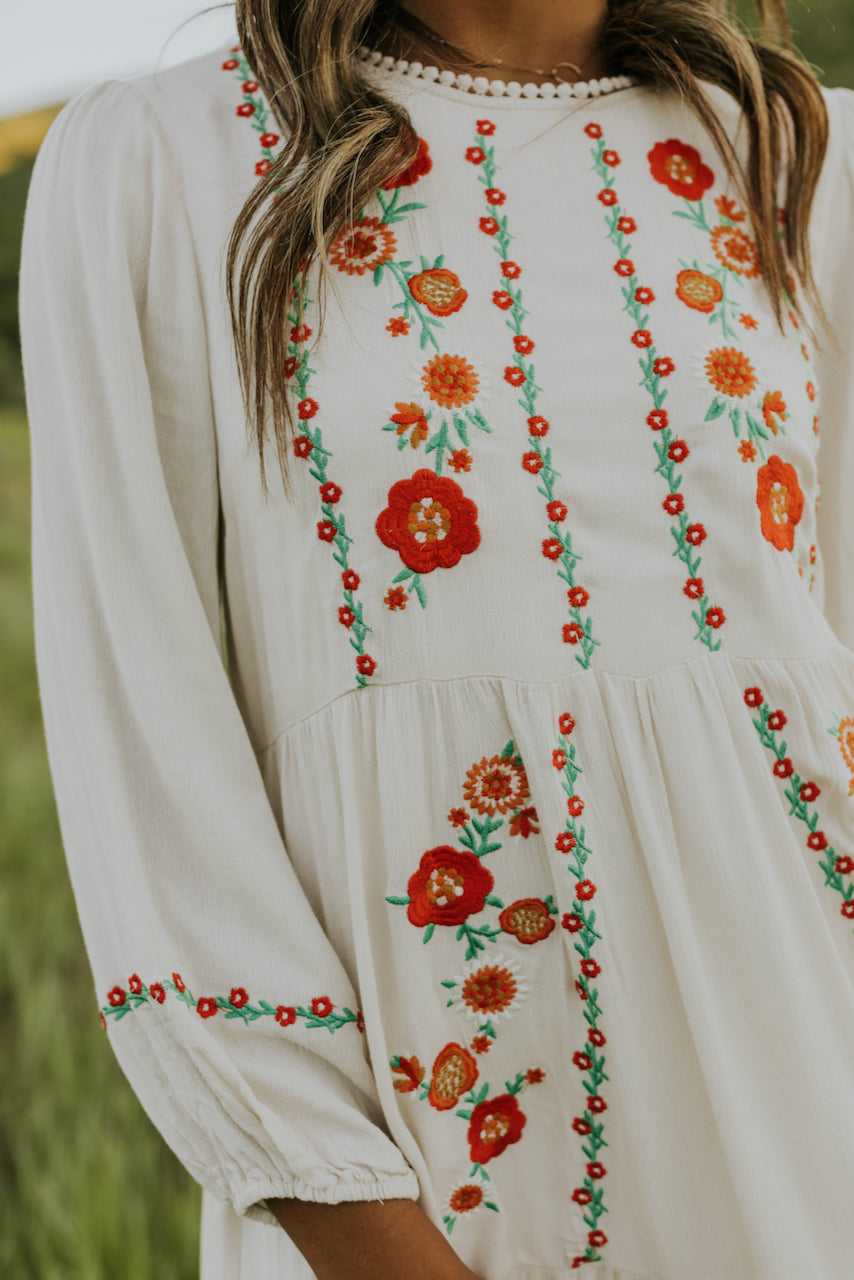Floral Embroidered White Dresses | ROOLEE