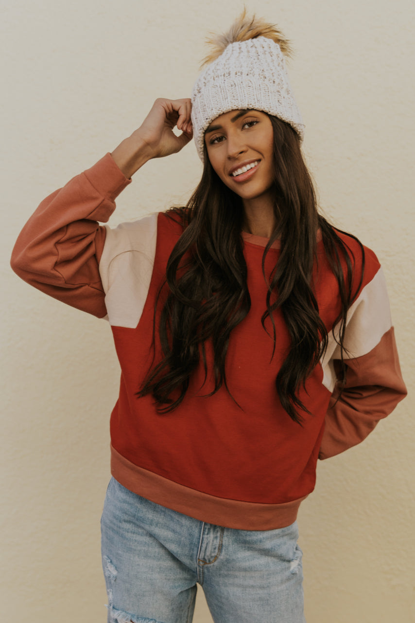Red Colorblock Long Sleeve Sweater | ROOLEE