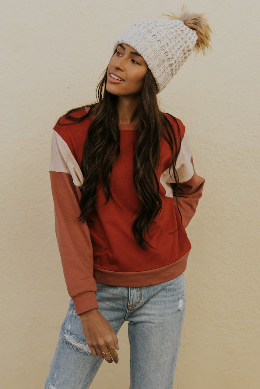 Colorblock Winter Red Sweater | ROOLEE