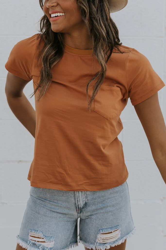 Short sleeve rust tops | ROOLEE