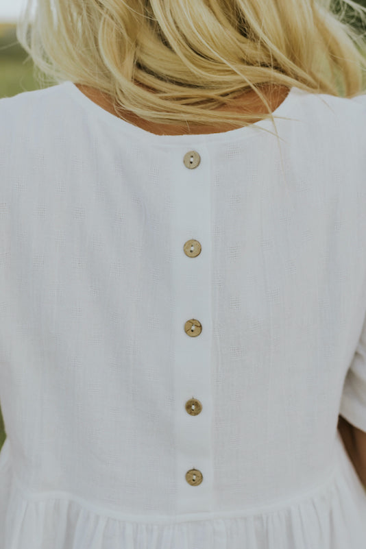 Soft neutral babydoll blouse | ROOLEE