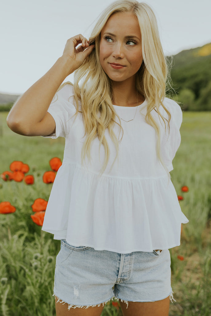 Flattering white babydoll top | ROOLEE