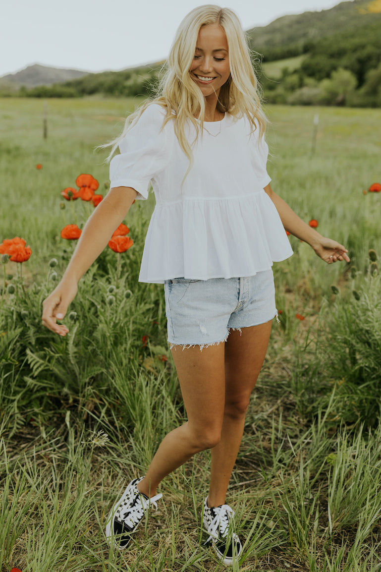 White babydoll blouse | ROOLEE