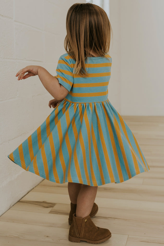 Blue and Mustard Striped Dress | ROOLEE