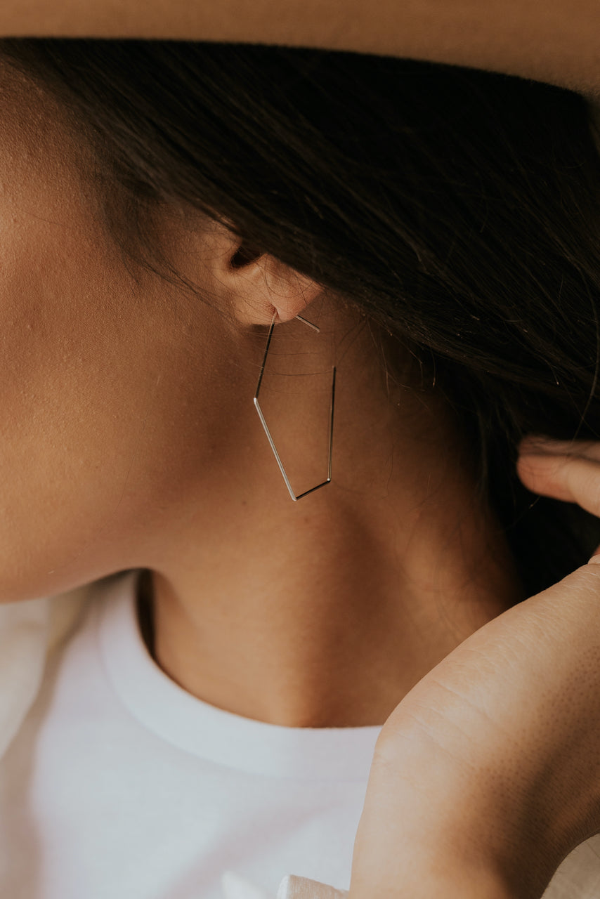 Hexagon Hoop Earrings | ROOLEE