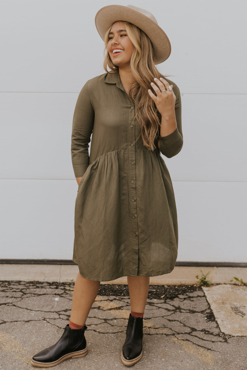 Green collared dress | ROOLEE