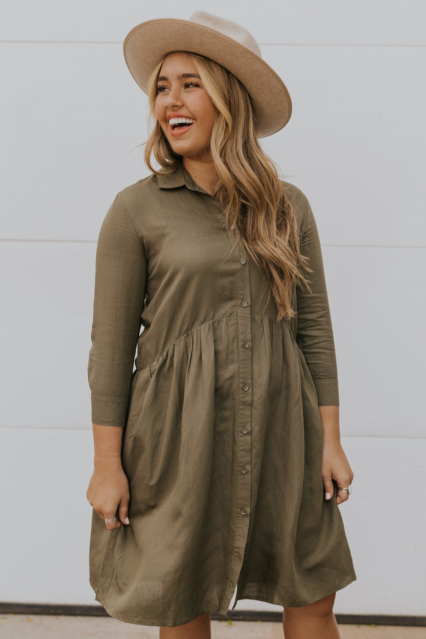 Long sleeve button up front dress | ROOLEE