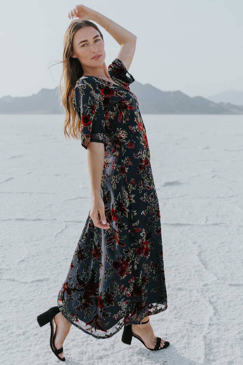 High quality velvet overlay floral maxi | ROOLEE