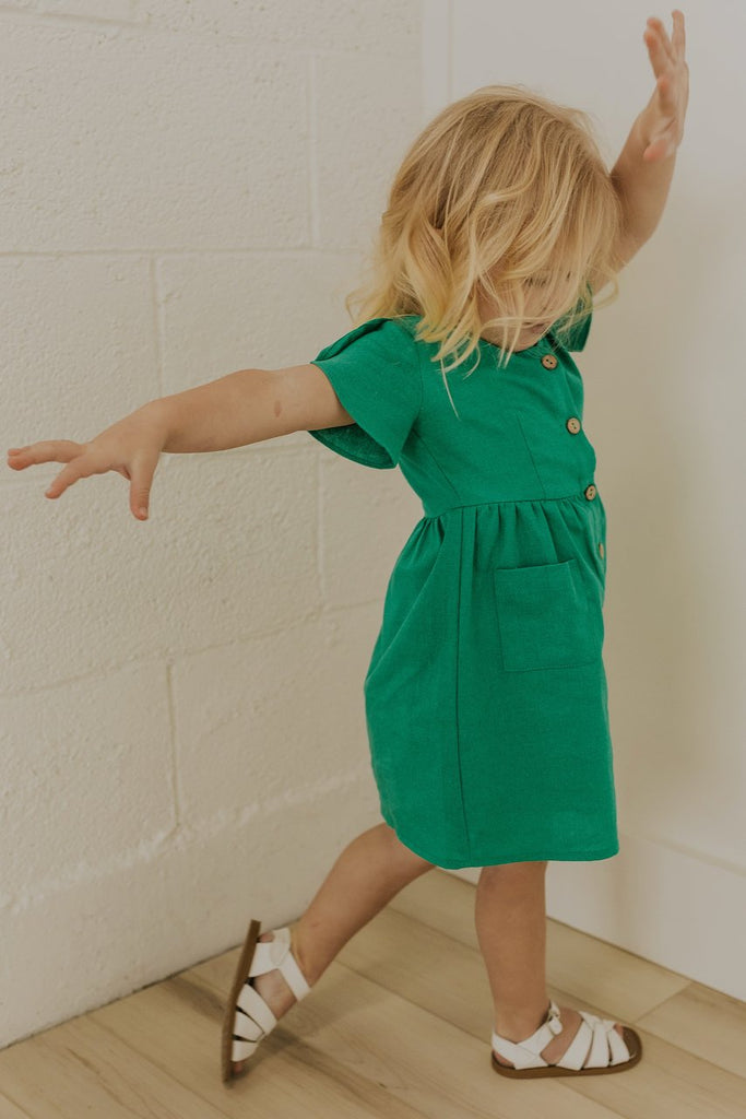 Green Button Dresses for Girls | ROOLEE