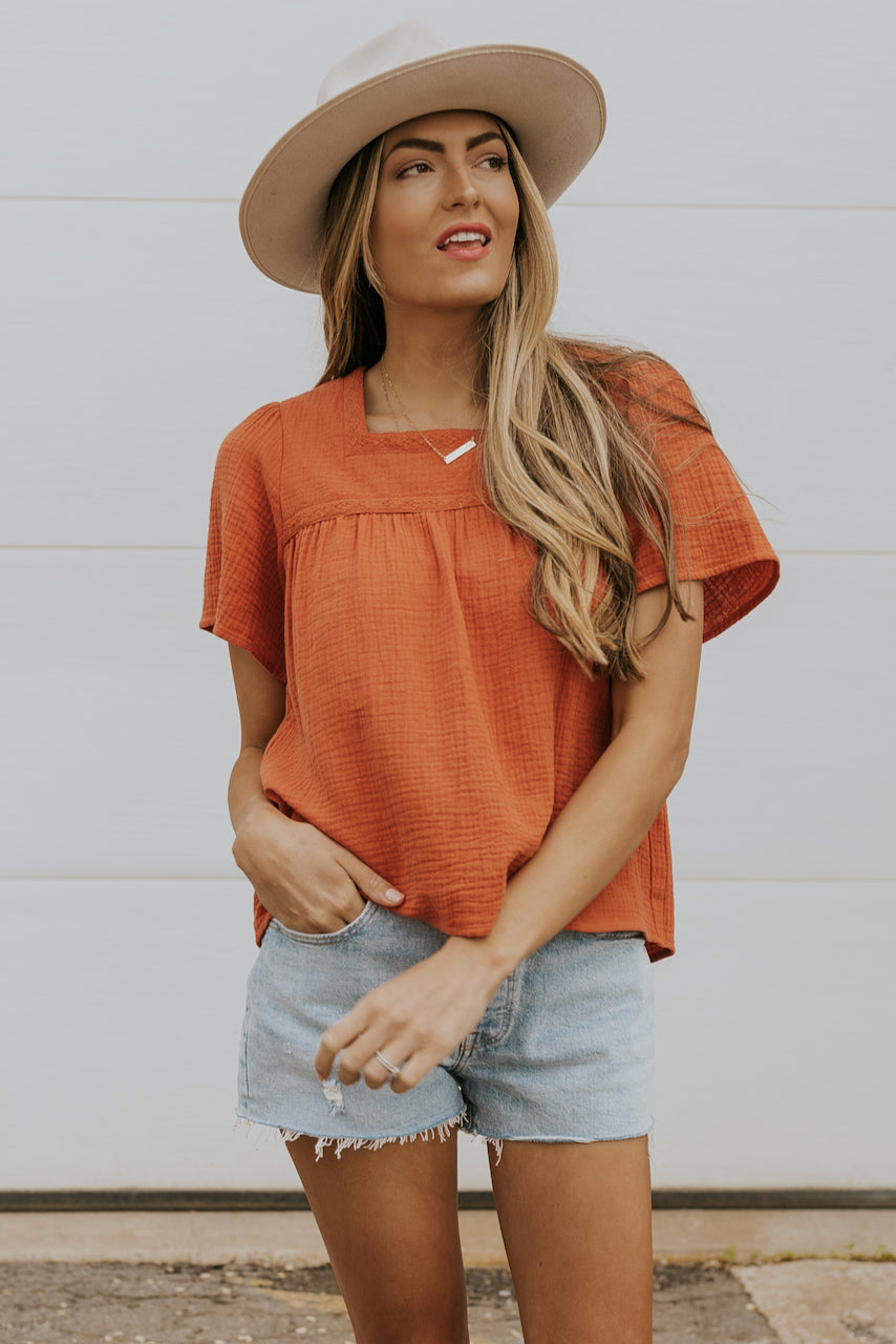 Rust short sleeve blouse for summer | ROOLEE