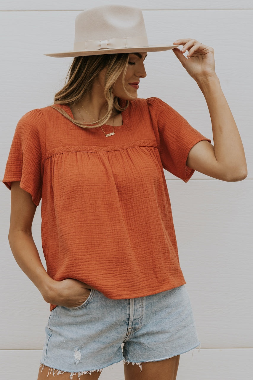 Cute summer red flowing modest tops | ROOLEE