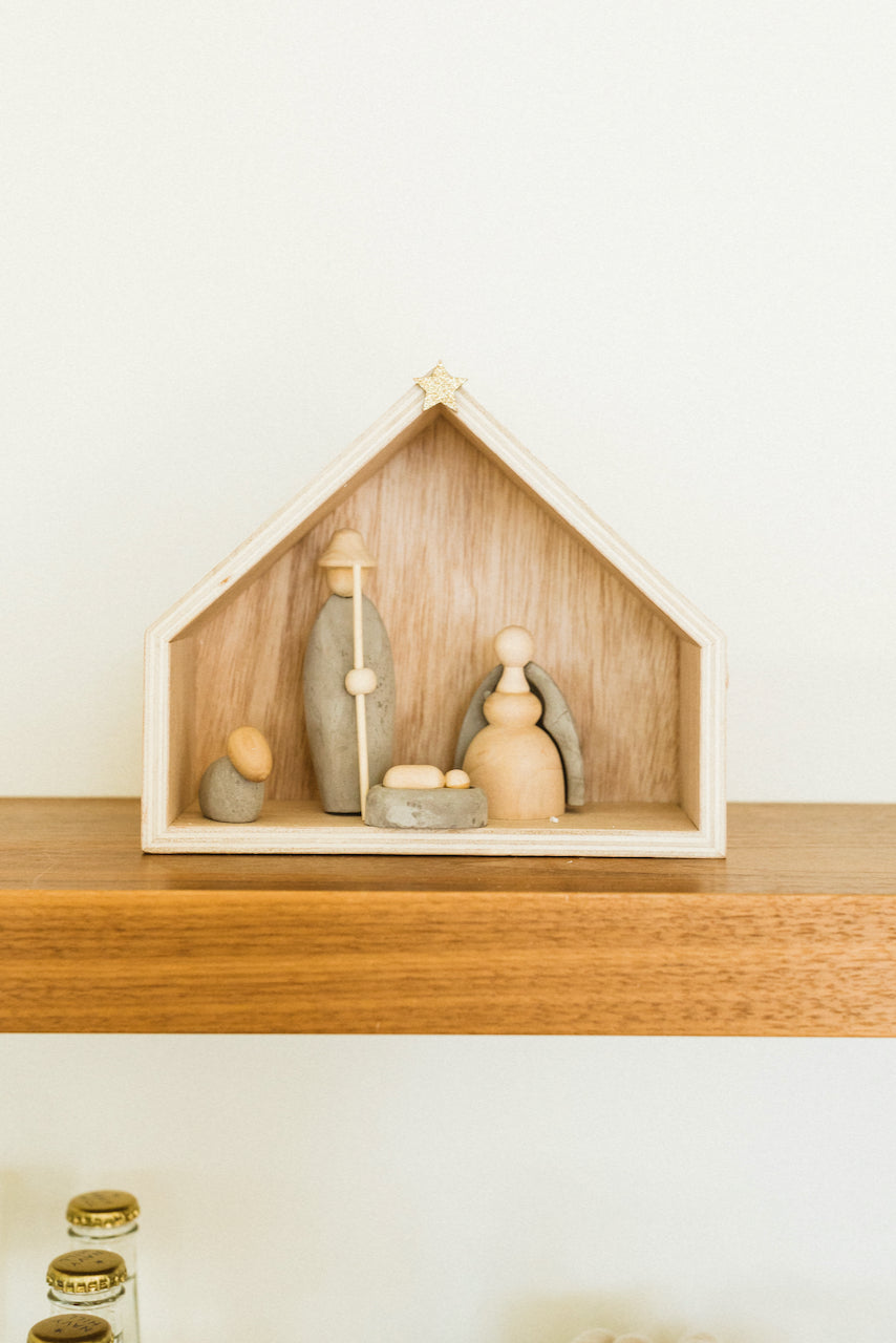 Gloria Wood and Cement Nativity Set