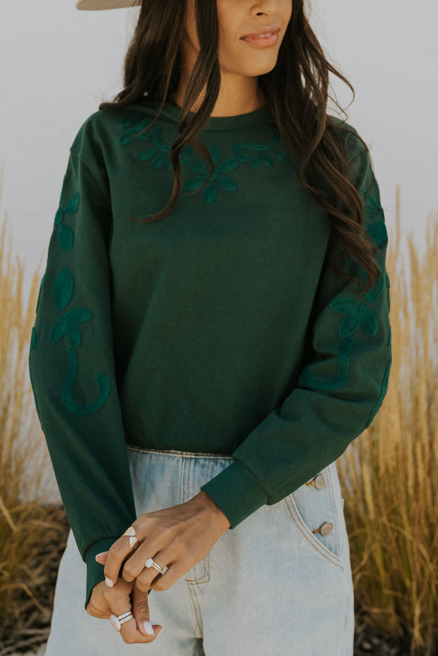 Long Sleeve Embroidered Pullover | ROOLEE