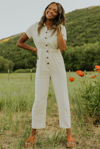Linen Button Jumpsuit for Women | ROOLEE