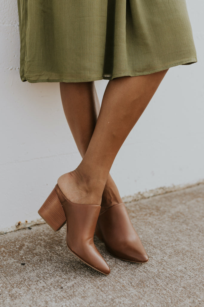 Brown leather high heeled mules | ROOLEE