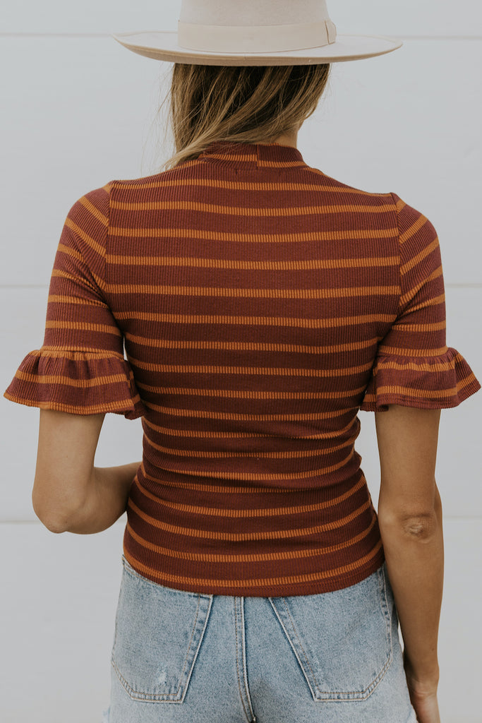 Rust Stripe Layering Top for Women | ROOLEE