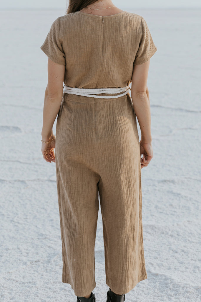 Short sleeve zippered back jumpsuit | ROOLEE