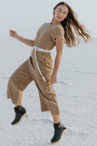 High quality brown tie waist jumpsuit | ROOLEE