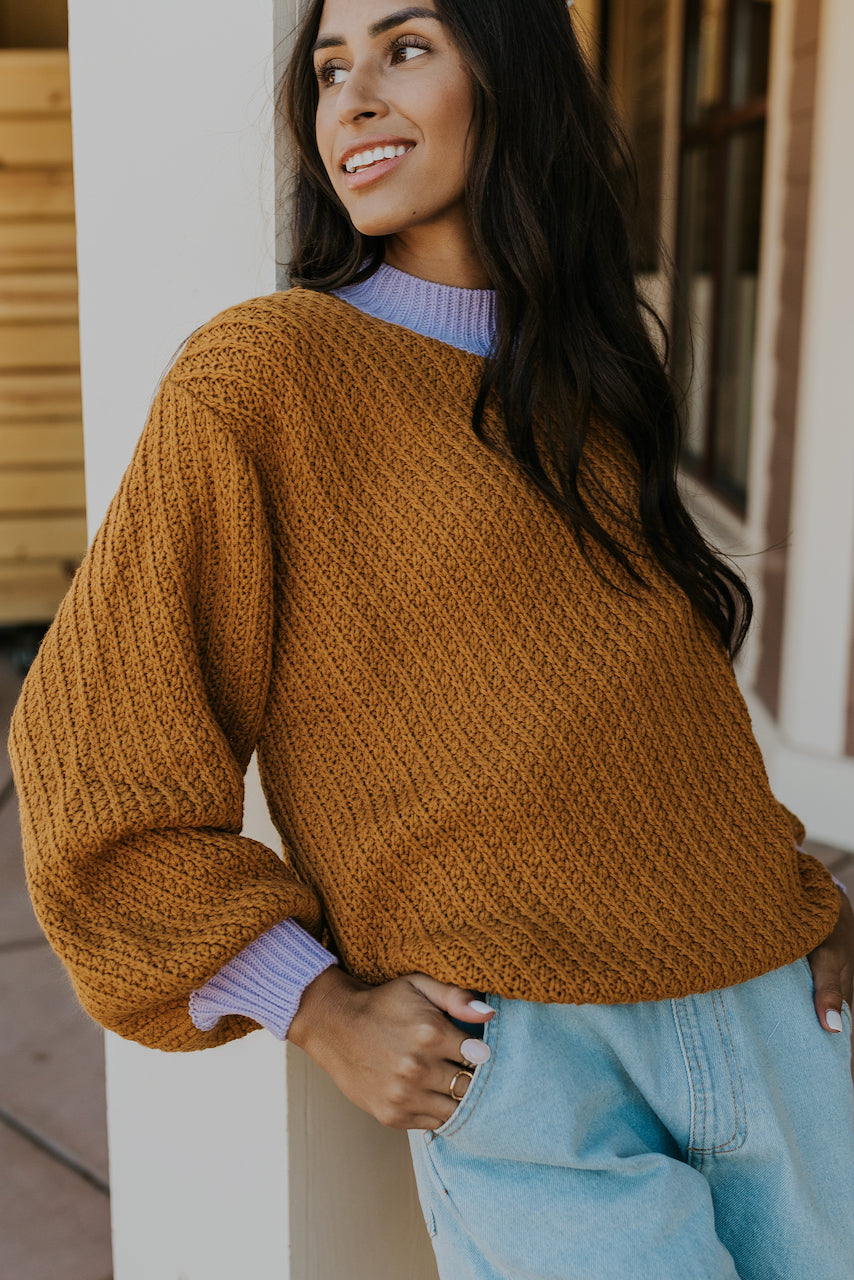 Bright camel slouchy sweater | ROOLEE