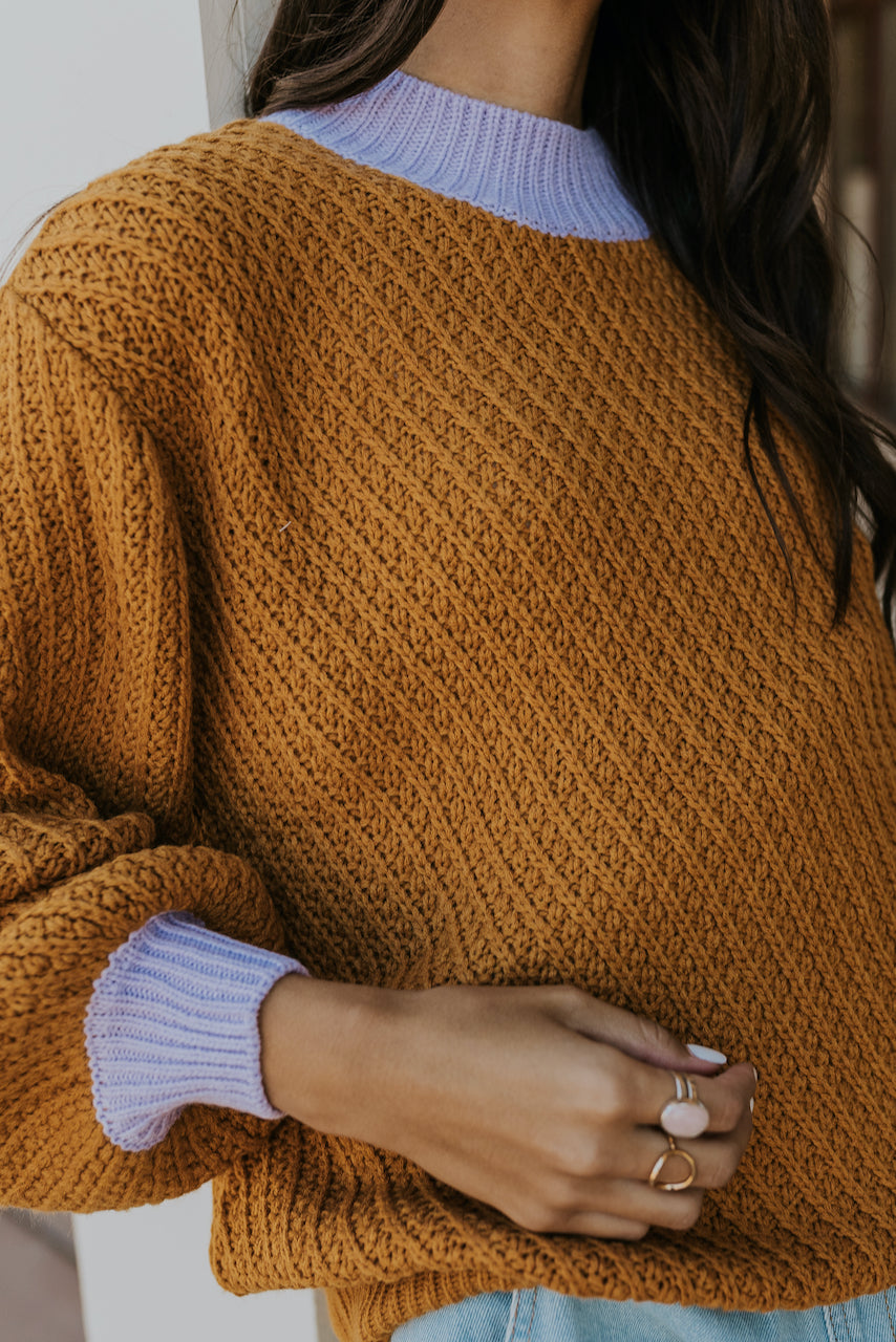 Purple detail slouchy camel sweater | ROOLEE