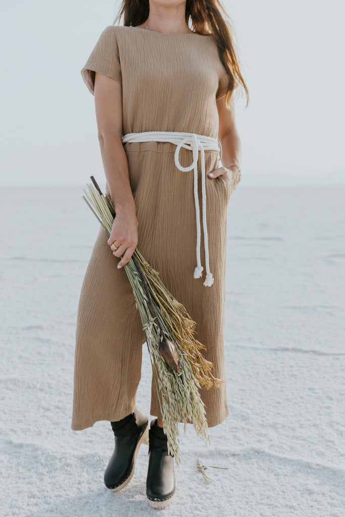 Brown texture jumpsuits for fall | ROOLEE