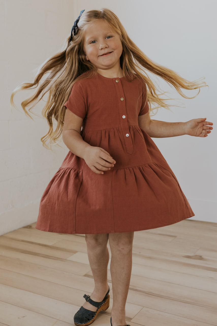Button Front Modest Spring Girl's Dress | ROOLEE