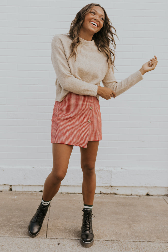 Red Mini Skirt | ROOLEE