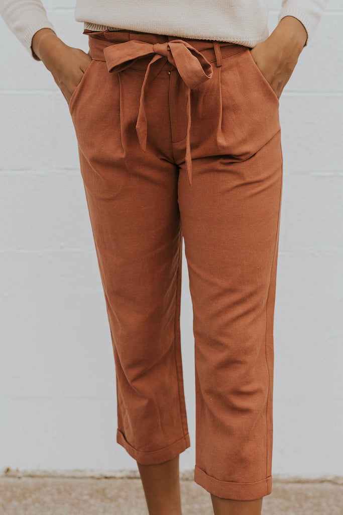 Tie front casual trousers for women | ROOLEE
