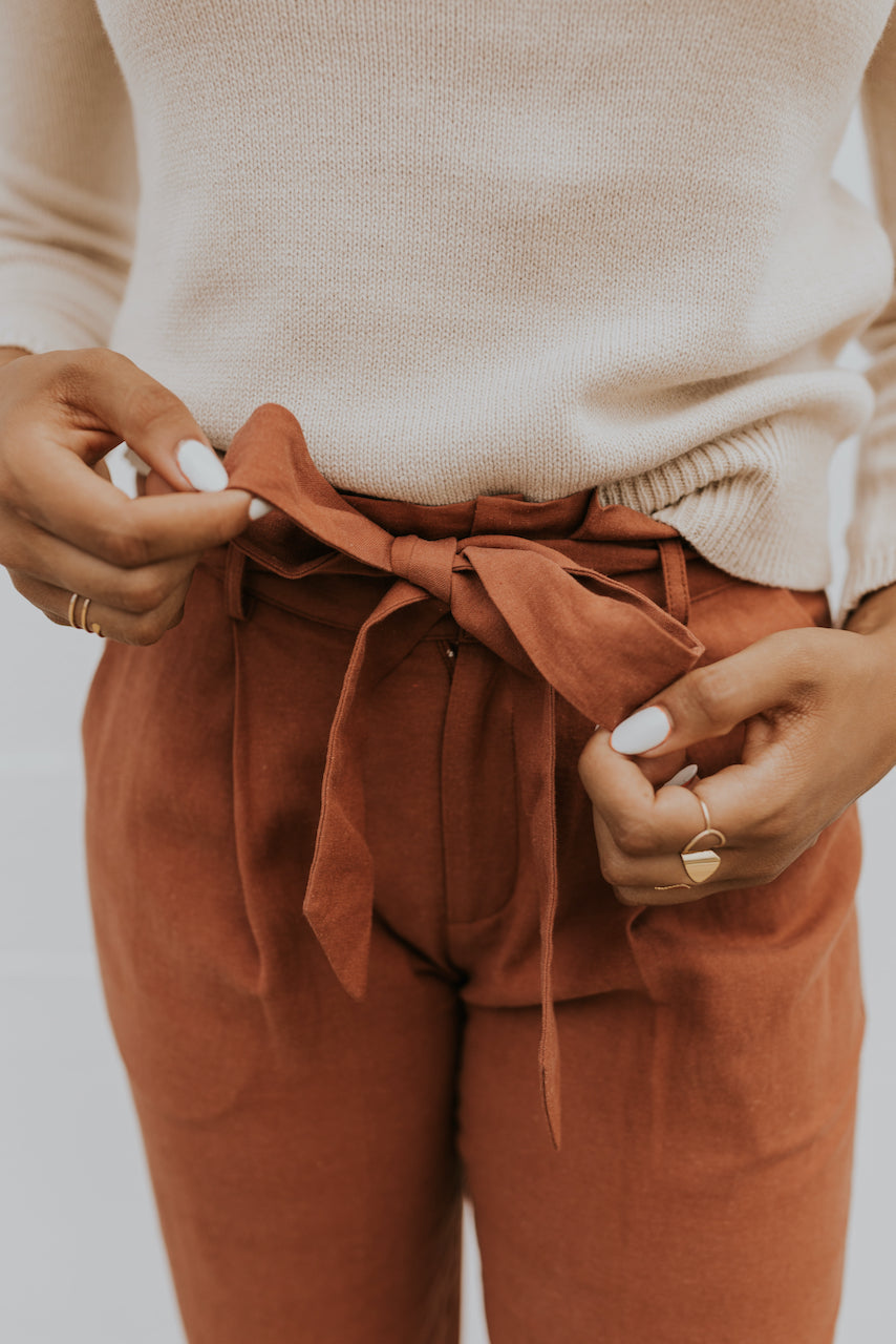 Rust cozy texture joggers for fall | ROOLEE