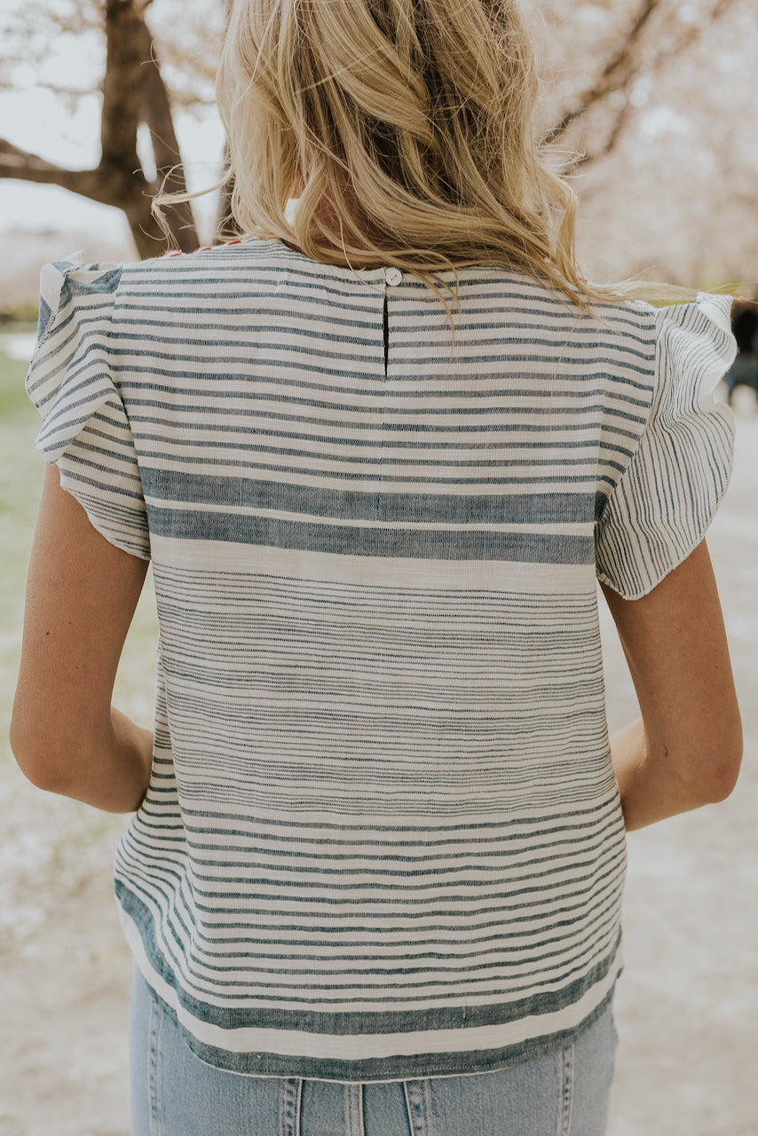 Stripe Embroidered Spring Blouse | ROOLEE