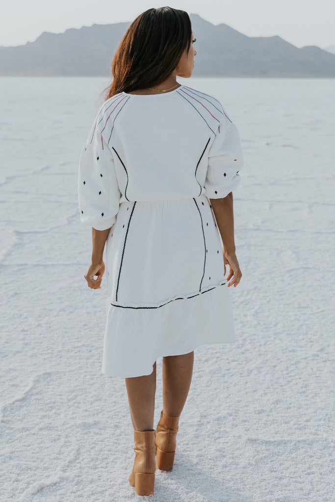 Cute puff sleeve embroidered dress | ROOLEE