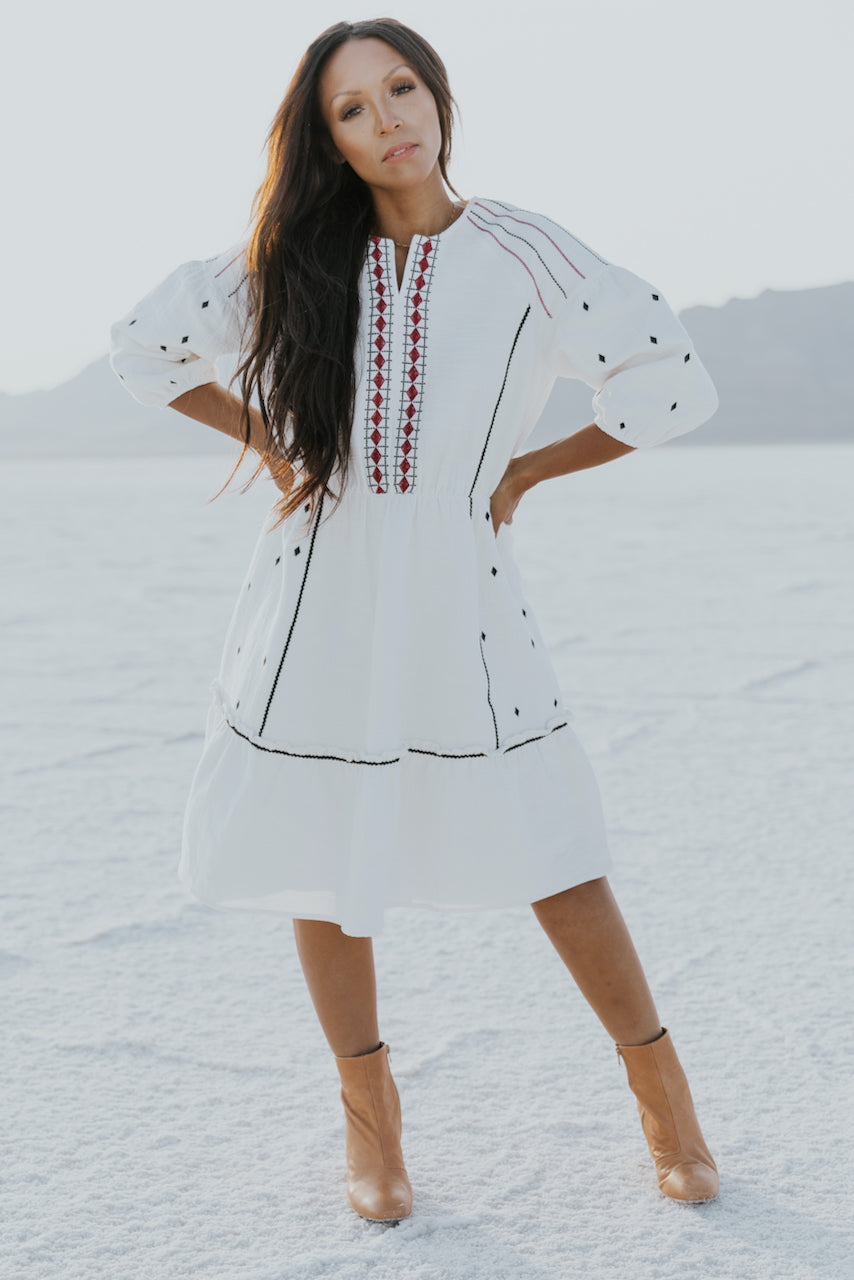 Balloon sleeve white embroidered dress | ROOLEE