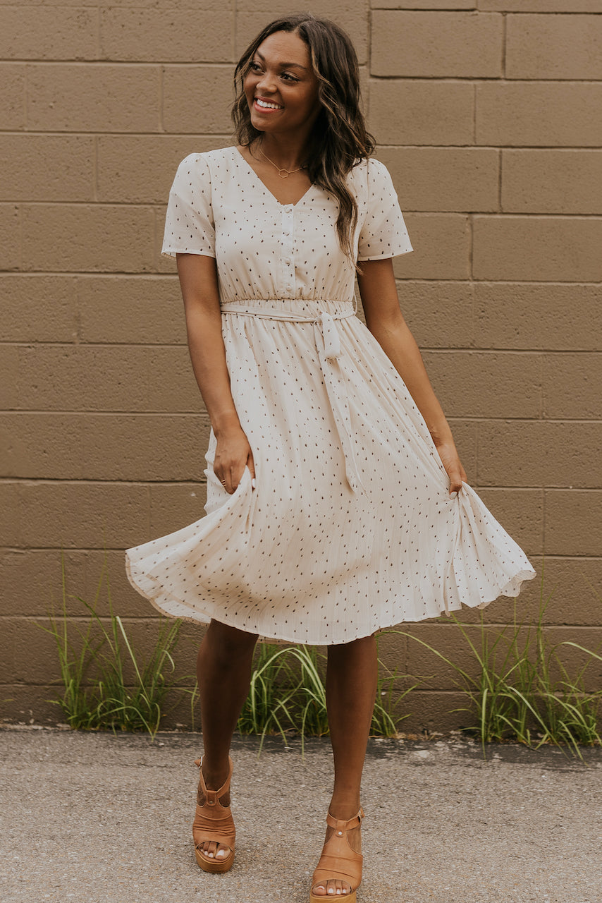 Ivory pleated dress with tie | ROOLEE