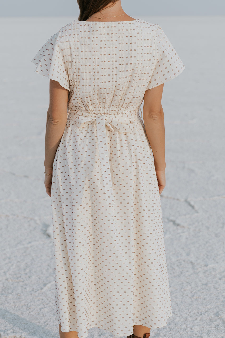 Cream pleated vintage maxi dress | ROOLEE