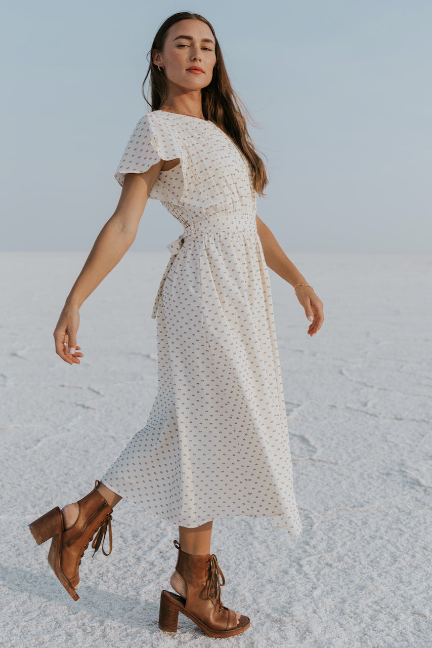 Flutter sleeve quality cream dress | ROOLEE