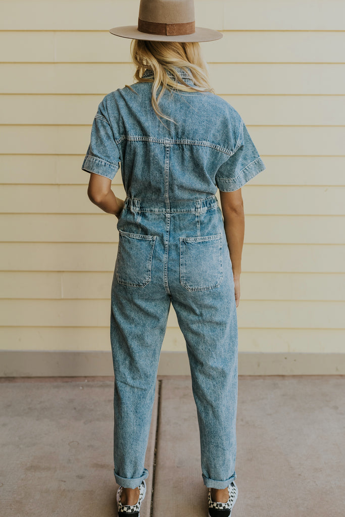 Short sleeve casual denim coveralls | ROOLEE