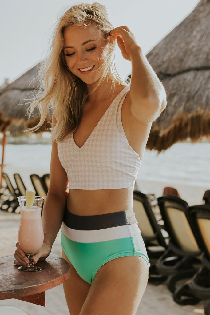 Gray Houndstooth Swim Top