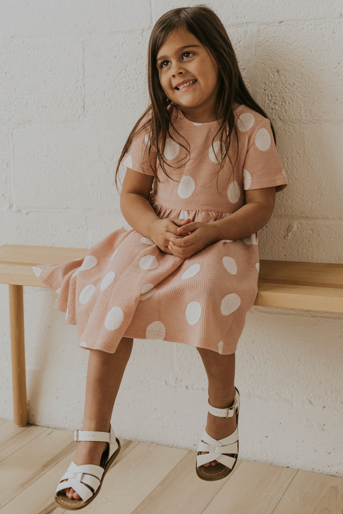 Cute Girls Pink Polka Dot Matching Dresses | ROOLEE