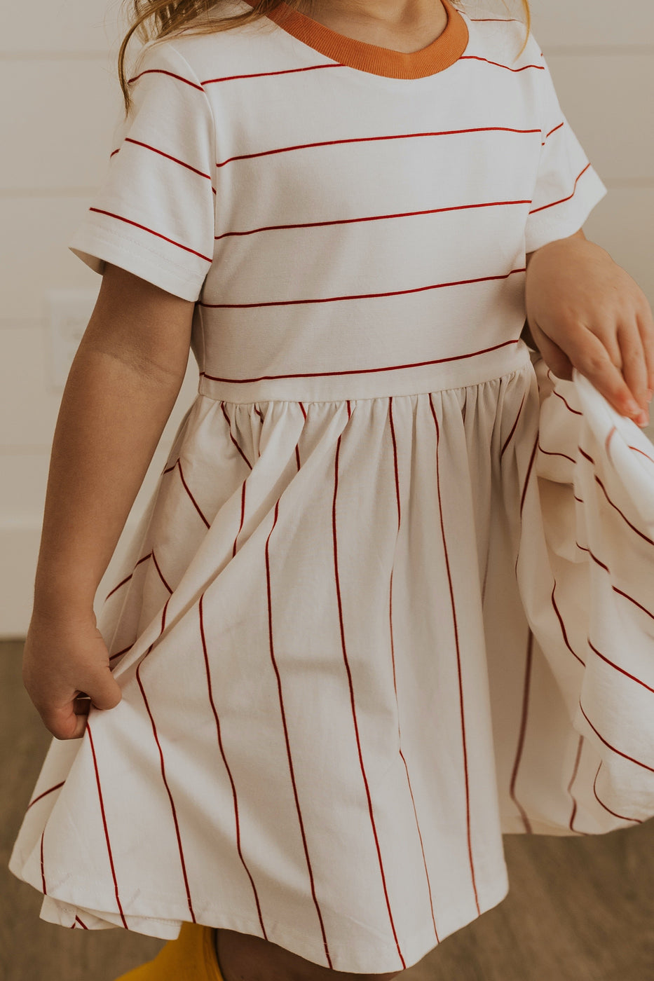 Girls pink stripe easter dresses | ROOLEE