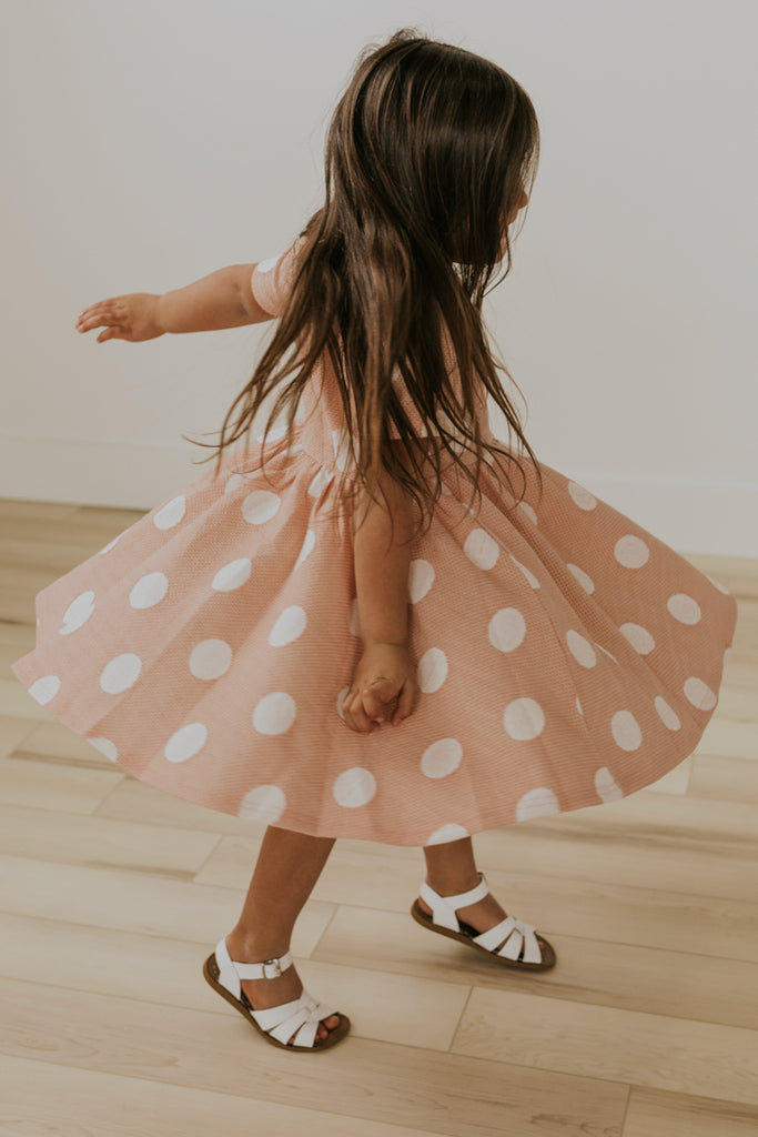 Short Sleeve Pink Girls Dresses for Spring | ROOLEE