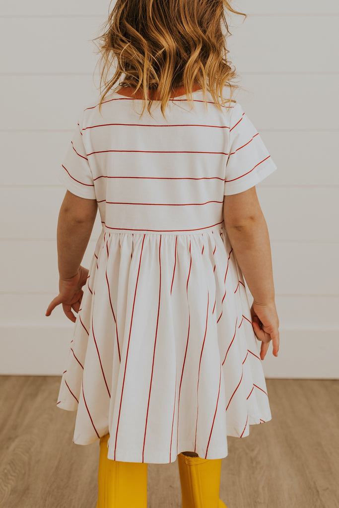 Pink stripe spring dresses for kids | ROOLEE
