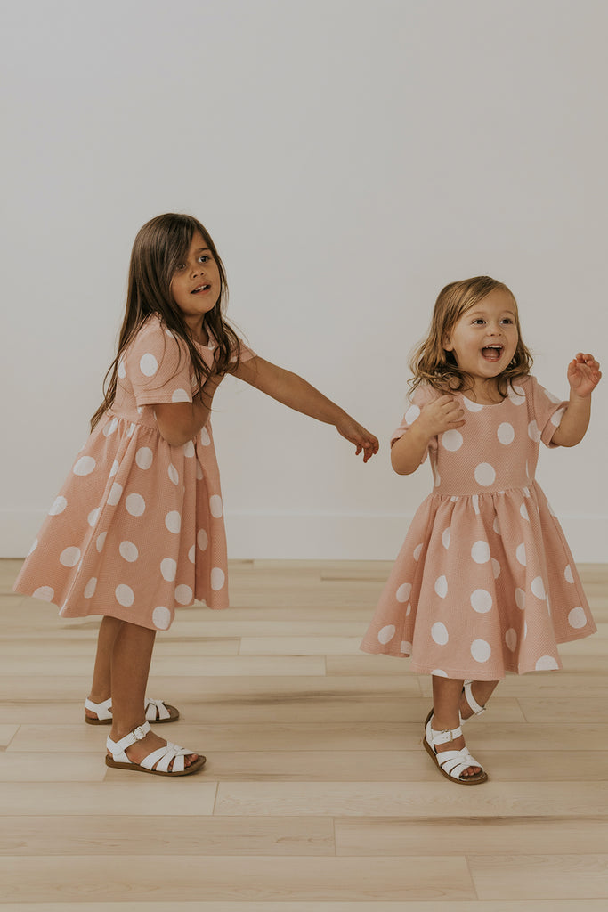 Cute Pink Ruffle Polka Dot Dress | ROOLEE