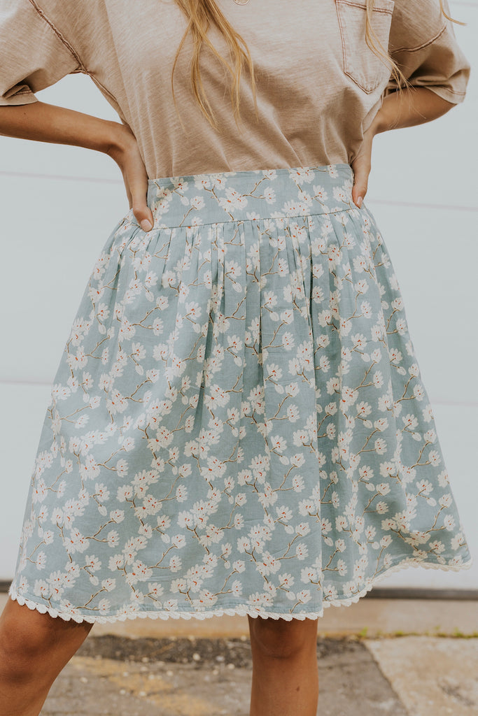 Blue floral skirts for summer | ROOLEE
