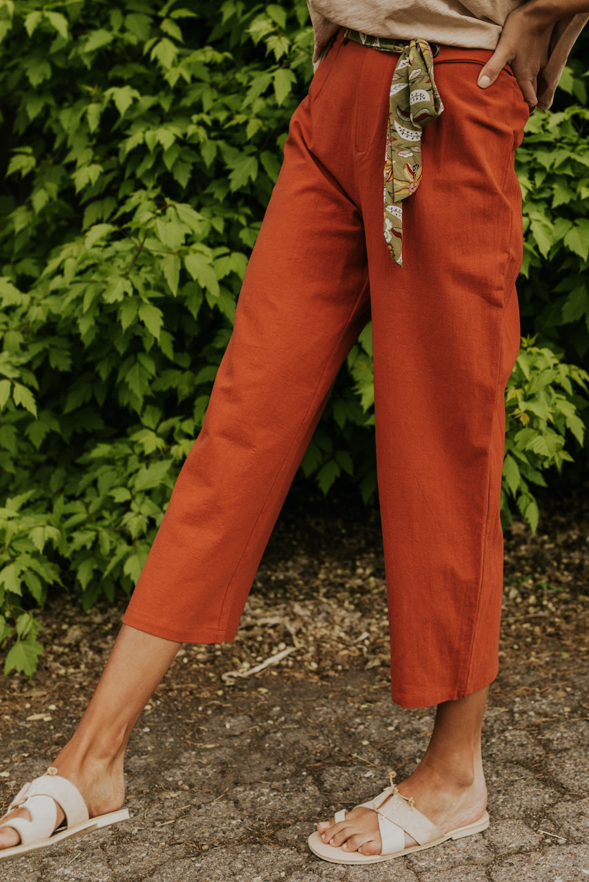 Rust Pants with Belt Scarf | ROOLEE