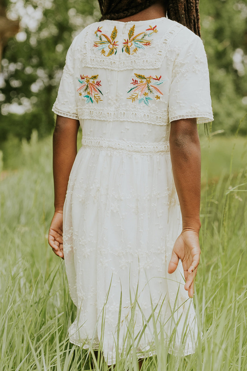 White embroidered dresses for matching | ROOLEE