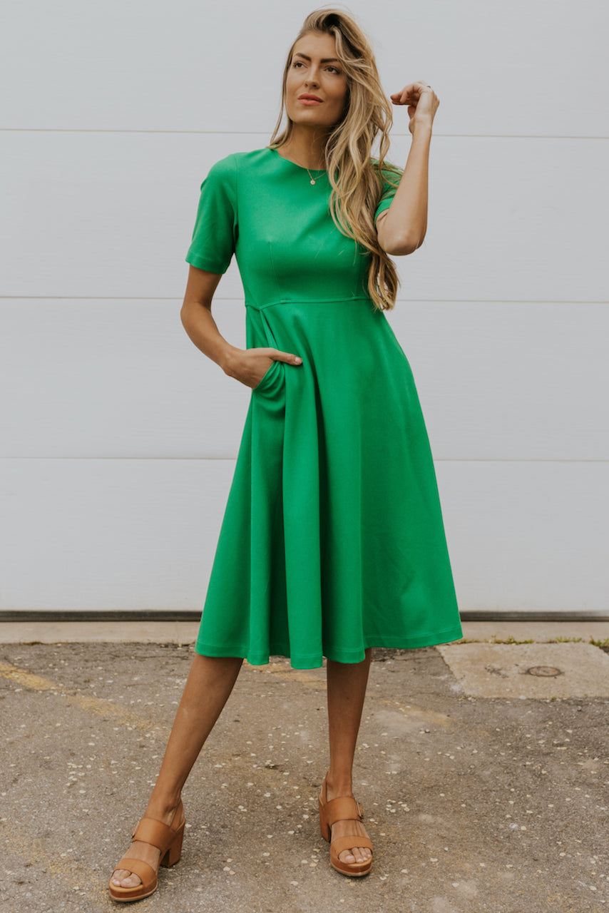 Kelly green a line dresses | ROOLEE