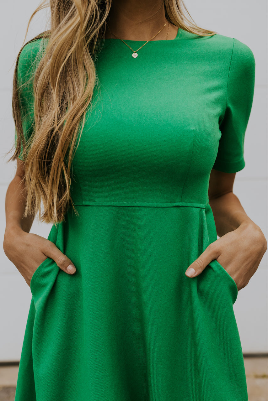 Modest flared green womens dresses | ROOLEE