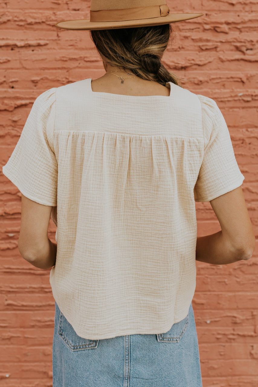 Square neck flattering white tops | ROOLEE