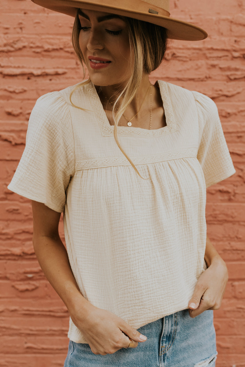 White cream textured blouses | ROOLEE