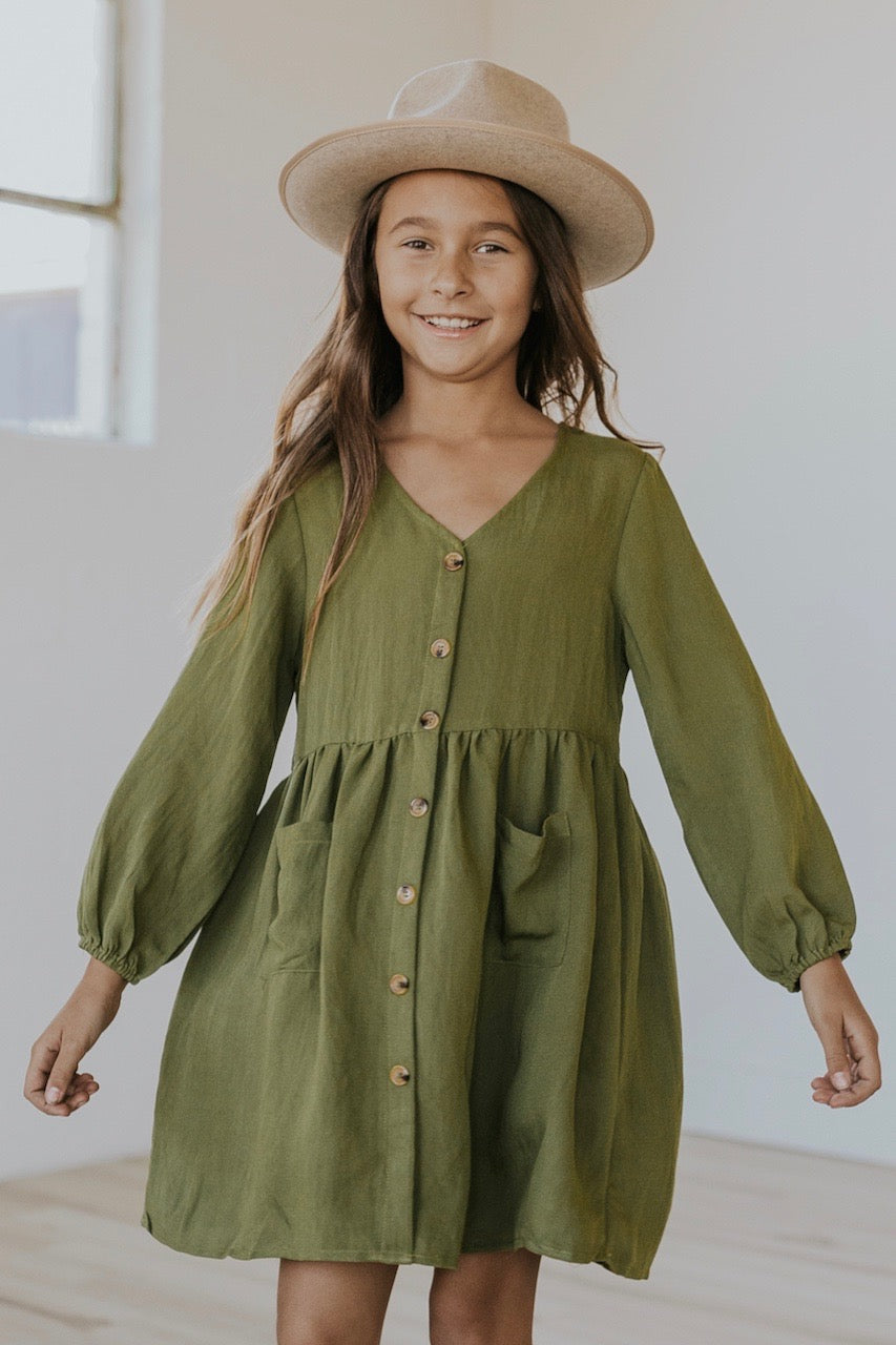 Bubble sleeve green kids holiday dress | ROOLEE